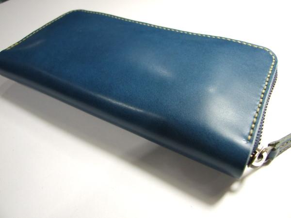 青いファスナーロングウォレット -2