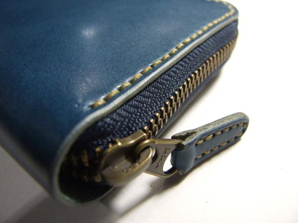 青いファスナーロングウォレット -3
