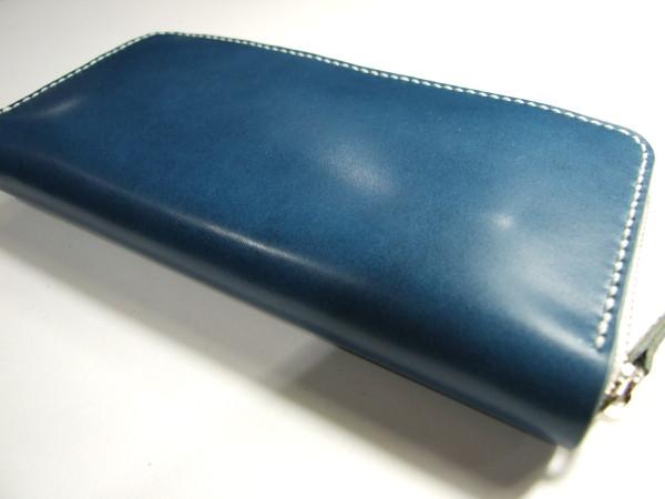 青に白ファスナーのファスナーロングウォレット-2