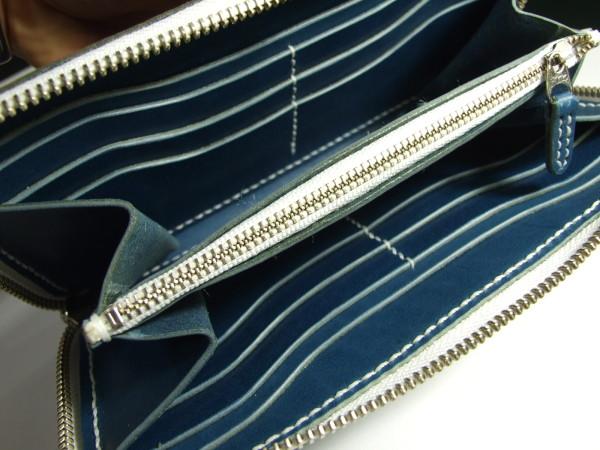 青に白ファスナーのファスナーロングウォレット-4