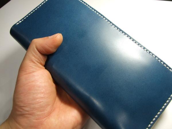 青に白ファスナーのファスナーロングウォレット