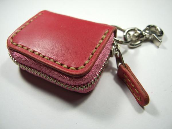 ミニファスナーコインケース ピンクにベージュステッチ-1