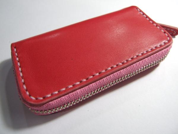 ピンクのファスナーコインケース-1