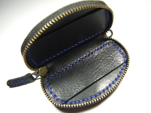 日産用ファスナースマートキーケース 黒x青ステッチ-2