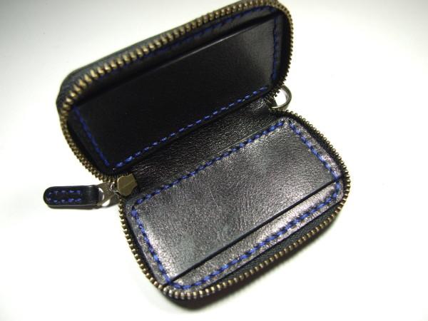 スバル・レヴォーグ用ファスナースマートキーケース 黒x青ステッチ-2