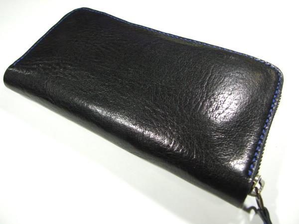 黒のファスナーロングウォレット 青ステッチ-2