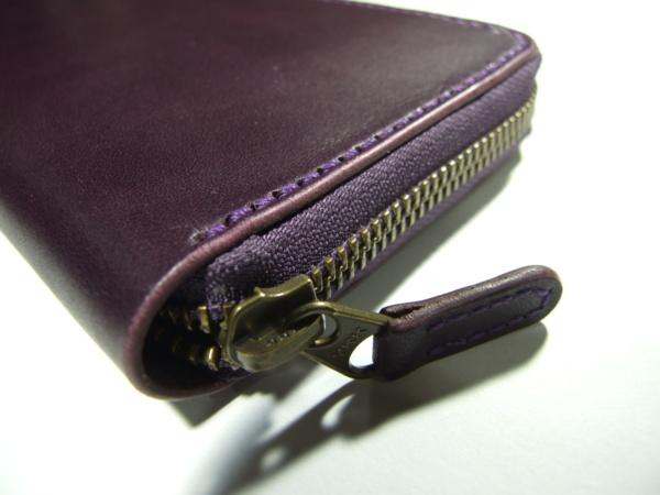 紫のファスナーロングウォレット -2