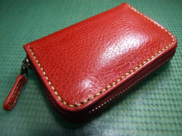 カードも入る赤いファスナーコインケース ベージュステッチ-1