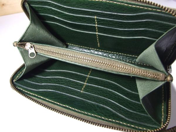 シボありグリーンのファスナーロングウォレット ベージュステッチ-4