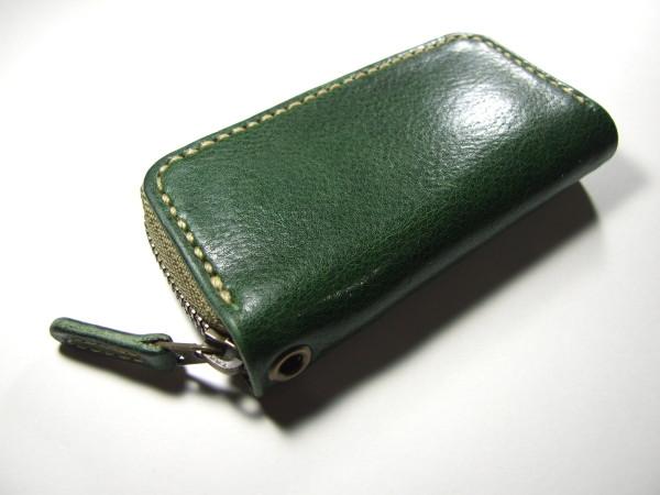 グリーンのファスナーキーケース ベージュステッチ-2