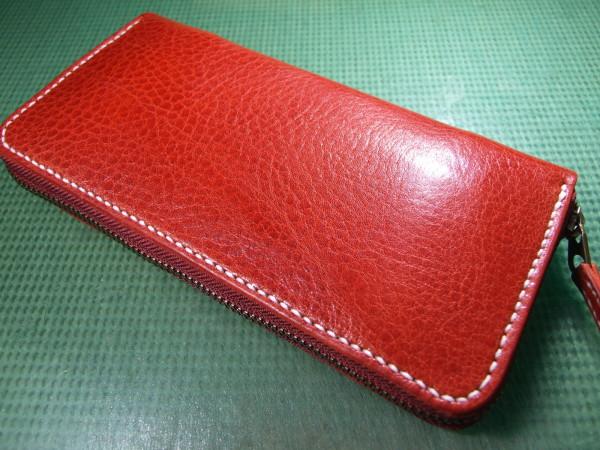 シボあり赤のファスナーロングウォレット 白ステッチ-1
