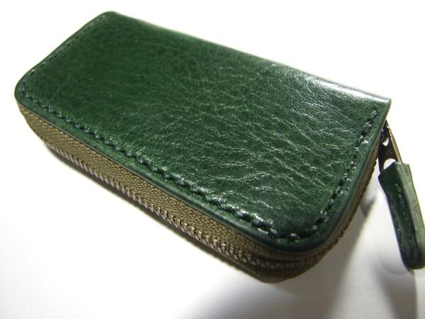 グリーンのファスナーキーケース-1