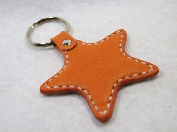 星のキーホルダー オレンジx白-1