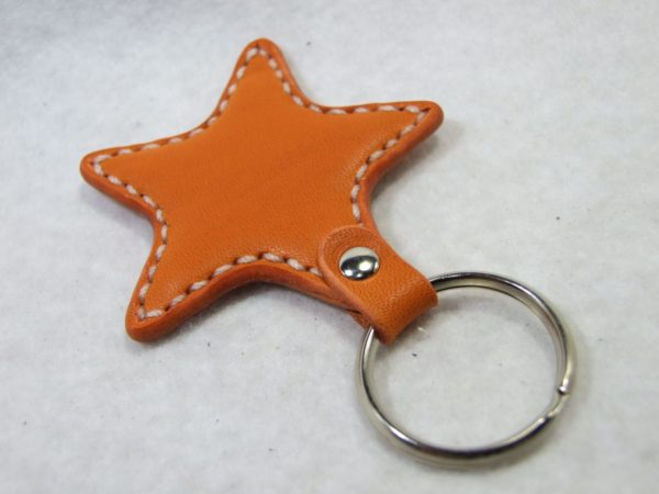 星のキーホルダー オレンジx白-2