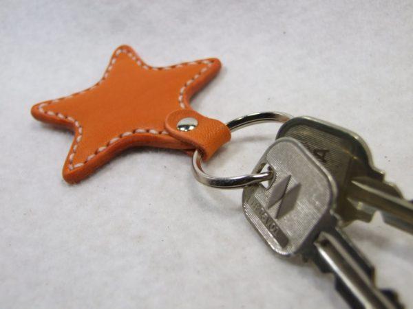 星のキーホルダー オレンジx白-3